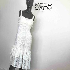 Just Me Asymmetrical Tiered Lace Dress Off White S